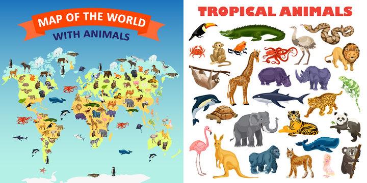 Zoo animals banner set. Cartoon illustration of zoo animals vector banner set for web design