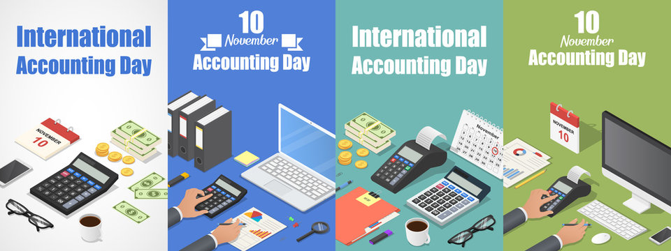 Accounting day banner set. Isometric set of accounting day vector banner for web design