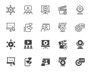 Set of icons in line and glyph style of e-business and e-learning theme. Modern technologies, online conferences, webinars and training concept signs. Outline and black flat labels isolated. Vector