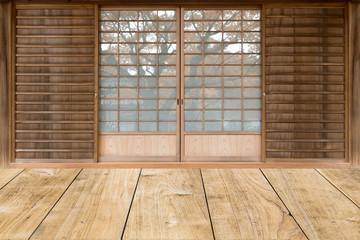 japanese style sliding door in traditional house.