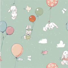 Little vector hares fly with balloon. seamless pattern