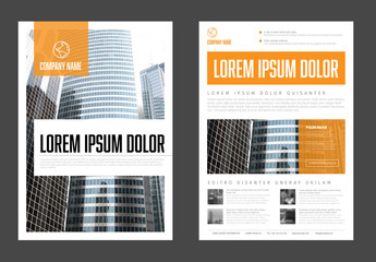 Flyer Layout with Orange Elements