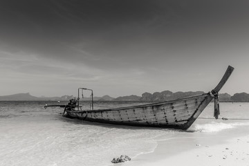 old wooden boat art black and white photography sea ocean landscape quiet view.