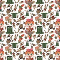 Autumn girl seamless pattern
