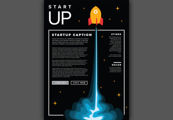 Flyer Layout with Rocket Illustration