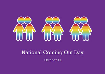 National Coming Out Day vector. Gay and lesbian rights. Kissing figures illustration. Stylized illustration of couples in love. Important day