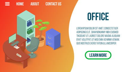 Office concept banner. Isometric banner of office vector concept for web, giftcard and postcard