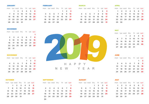 2019 Calendar Layout with Colorful Text