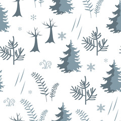 Seamless forest pattern. Fir trees and herbs winter background.