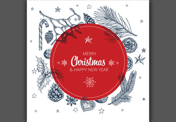 Christmas Card Layout with Hand-Drawn Illustrations