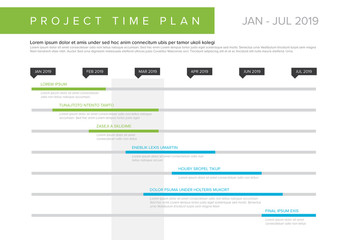 Project Timeline Layout with Blue and Green Accents