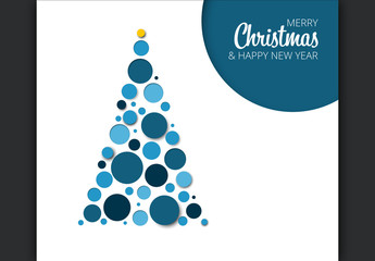 Christmas e-Card Layout with Blue Tree Illustration