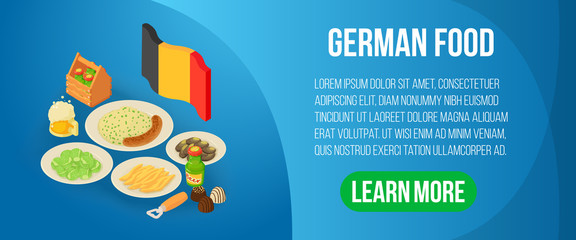 German food concept banner. Isometric banner of german food vector concept for web, giftcard and postcard