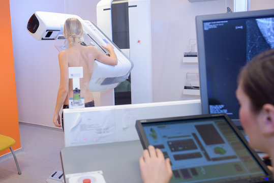 woman in hospital for mammography scan