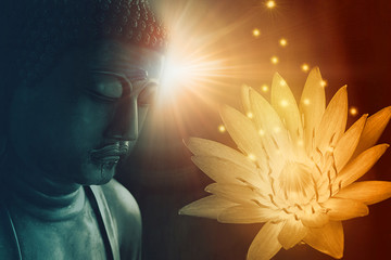 peace buddha face enlighten with golden lotus light of buddhist peace