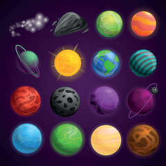Planets space icon set. Cartoon set of planets space vector icons for web design