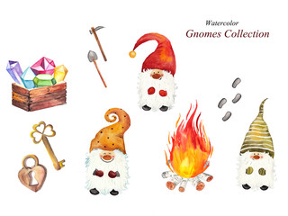 Watercolor dwarf collection: dwarves, fire with birch logs, treasure chest, key, lock, traces and tools