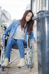 woman on the wheelchair in tight corners
