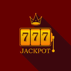 Gold king slots 777 banner casino on red background. Big win 777 lottery vector casino with slot machine. Flat design of Vegas game concept. Vector illustration