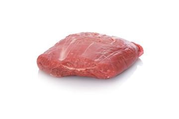 Lammhüfte roh rot Lammfleisch weiß isoliert