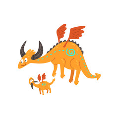 Cute horned mature dragon with wings and small baby dragon, mother and her child, family of mythical animals cartoon characters vector Illustration on a white background