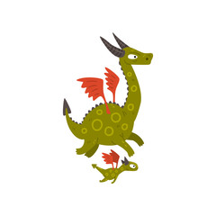 Cute horned mature dragon with wings and baby dragon, mother and her child, family of mythical animals cartoon characters vector Illustration on a white background