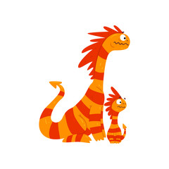 Loving mother dragon and her baby, cute striped winged dragons, fantasy mythical animals cartoon characters vector Illustration on a white background