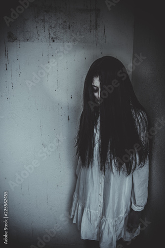 Portrait of asian woman make up ghost face,Horror scene
