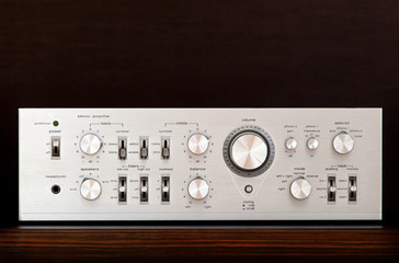 Vintage Audio Stereo Amplifier Shiny Metal Front Panel
