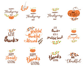 Vector Thanksgiving lettering elements for invitations or festive greeting cards