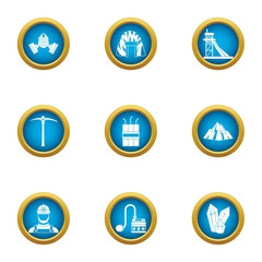 Landmine icons set. Flat set of 9 landmine vector icons for web isolated on white background