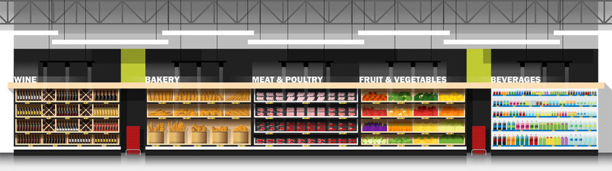 Interior scene of modern supermarket with products , vector , illustration
