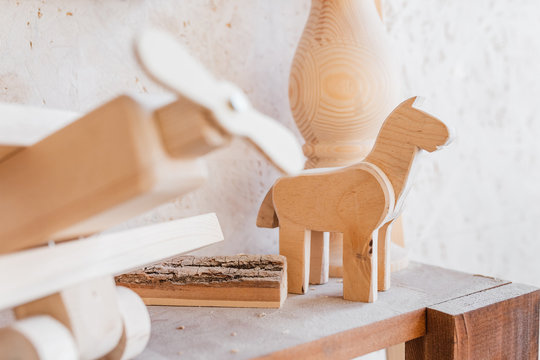 wooden toy in carpenter workshop