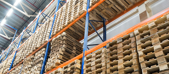 Wall Mural - Shelves in Distribution warehouse and wooden pallets
