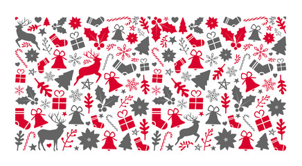 christmas pattern background with a lot of christmas objects