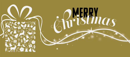 christmas greeting card on a golden background with a lot of glimmer