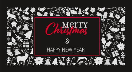christmas card template with a dark background and a lot of christmas objects