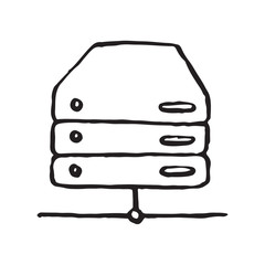 Database storage doodle icon