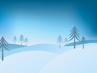 winter landscape with firs and snow covered hills