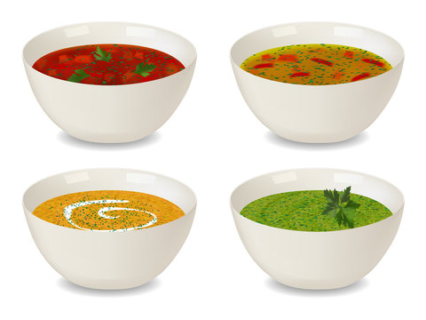 Collection of bowls with soup and cream soup. With greenery and decorations. Isolated objects on white background. Realistic style. Vector illustration.