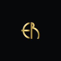 Abstract Minimal Initial Letters ER Logo Design in Black and Gold Color Using Letters E R