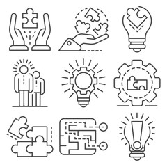 Solution icon set. Outline set of solution vector icons for web design isolated on white background