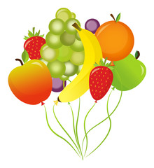 Set of healthy fruit balloons happy birthday party with banana apple strawberry