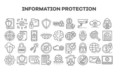 Computer security icon set. Outline set of computer security vector icons for web design isolated on white background