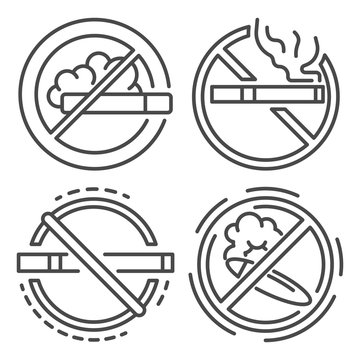 No smoking sign icon set. Outline set of no smoking sign vector icons for web design isolated on white background