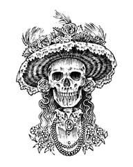 La Calavera Catrina. Elegant woman skeleton. Day of the dead. Spanish Dia de los Muertos. Mexican national holiday. Engraved hand drawn Vintage old monochrome sketch. Vector illustration.