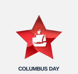 Columbus Day poster, card or banner with red paper cut star. Vector illustration.