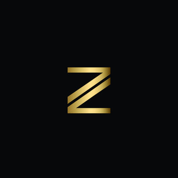 Abstract Minimal Initial Letters ZZ Logo Design in Black and Gold Color Using Letters Z Z