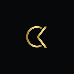 Abstract Minimal Initial Letters CK Logo Design in Black and Gold Color Using Letters C K