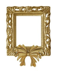 Gold framed frame with Christmas decorations on a white background